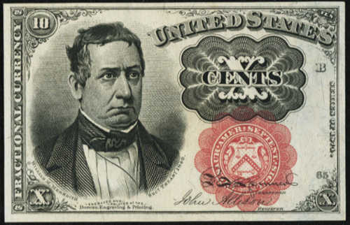 Fifth Issue Red Ten Cents Fractional Currency Front