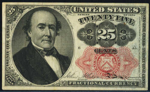 Fifth Issue Twenty Five Cents Fractional Currency Front