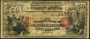 Fifty Dollar 1875 Series National Bank Note Value