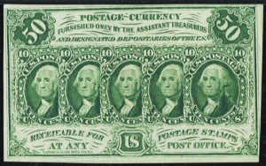 First Issue Fifty Cents Fractional Currency Front