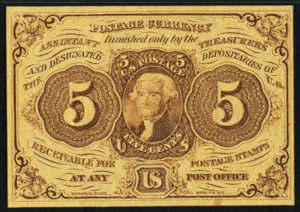 First Issue Five Cents Fractional Currency Front