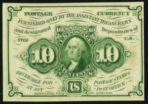 First Issue Ten Cents Fractional Currency Front