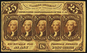 First Issue Twenty Five Cents Fractional Currency Front