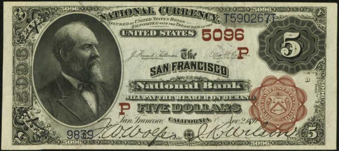 Five Dollar 1882 Brown Back National Bank Note Value