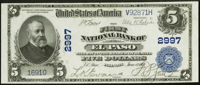 Five Dollar 1902 Blue Seal National Bank Note Value