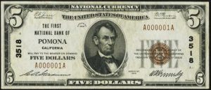 Five Dollar 1929 Small Size National Bank Note Values