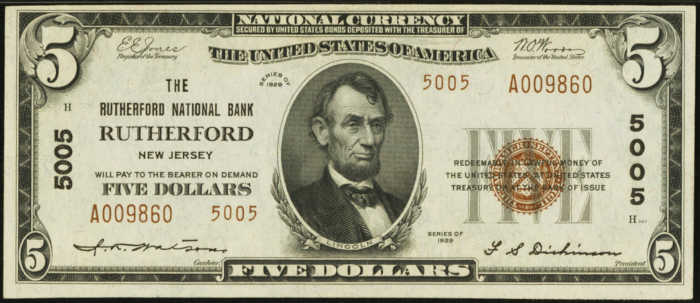 Picture of 1929 $5 National Bank Note