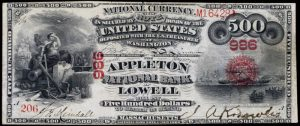 Value of Five Hundred Dollar 1875 Series National Bank Note