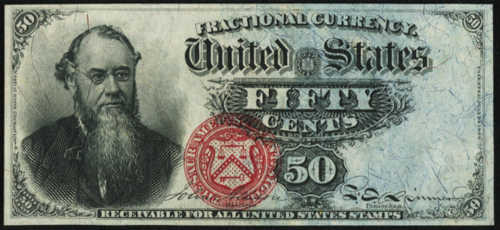 Fourth Issue Fifty Cents Fractional Currency Front fr. 1376
