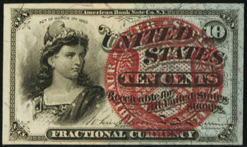 Fourth Issue Ten Cents Fractional Currency Front