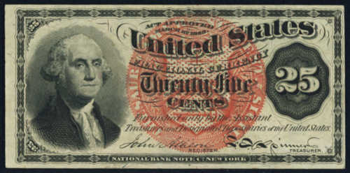 Fourth Issue Twenty Five Cents Fractional Currency Front