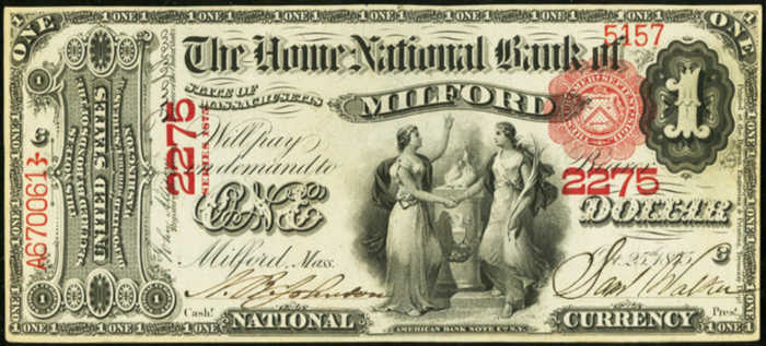 One Dollar 1875 Series National Bank Note Value