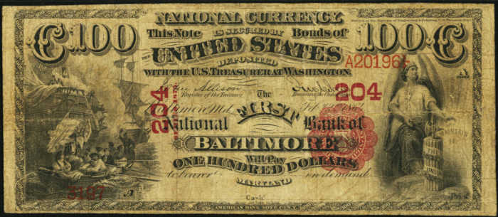 Picture of One Hundred Dollar 1875 Series National Bank Note