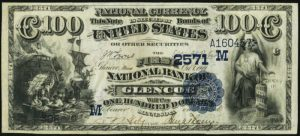 Picture of One Hundred Dollar 1882 Blue Seal National Bank Note