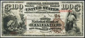 Picture of One Hundred Dollar 1882 Brown Back National Bank Note