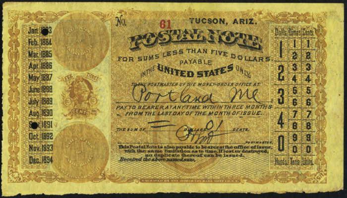 Postal Note Values 1883