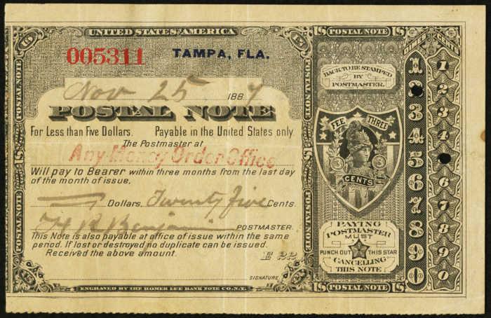 Postal Note Values 1887
