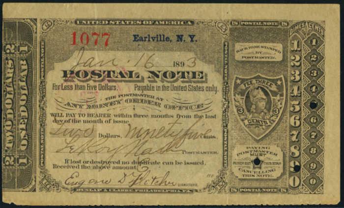 Postal Note Values 1893