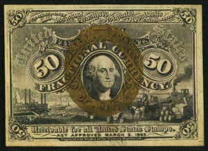 Second Issue Fifty Cent Fractional Currency Front