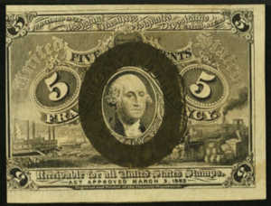 Second Issue Five Cent Fractional Currency Front