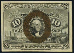 Second Issue Ten Cent Fractional Currency Front