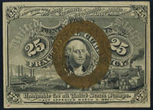 Second Issue Twenty Five Cent Fractional Currency Front