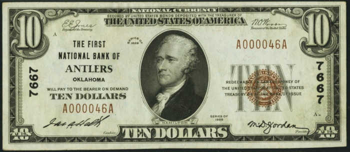 Ten Dollar 1929 Small Size National Bank Note Value