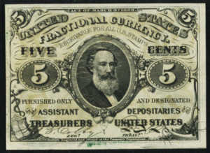 Third Issue Five Cents Fractional Currency Front