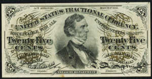 Third Issue Twenty Five Cents Fractional Currency Front