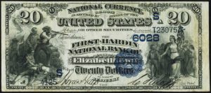 Picture of Twenty Dollar 1882 Blue Seal National Bank Note