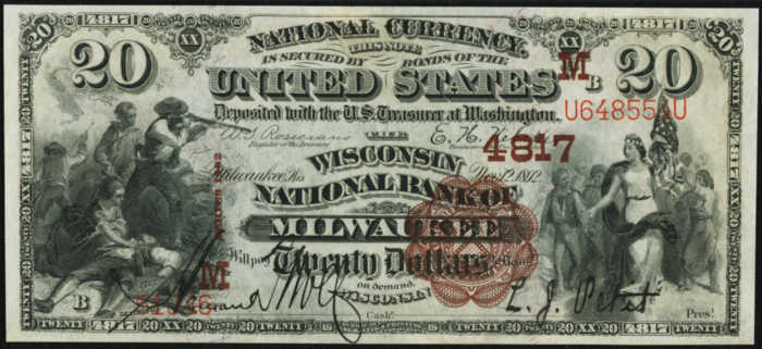 Picture of Twenty Dollar 1882 Brown Back National Bank Note Value