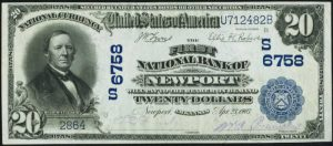 Picture of Twenty Dollar 1902 Blue Seal National Bank Note Value