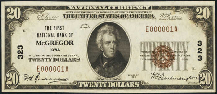 Twenty Dollar 1929 Small Size National Bank Note Value