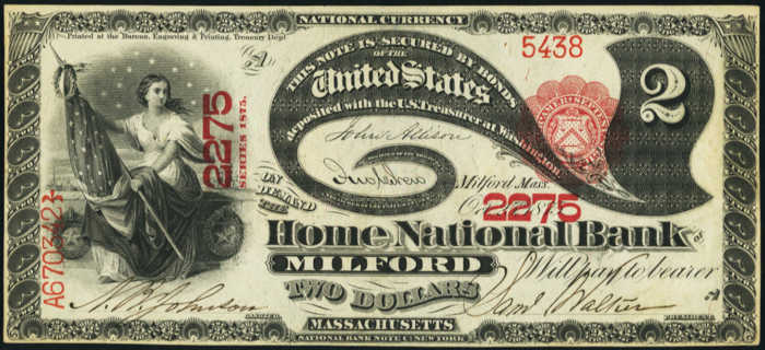 Picture ofTwo Dollar 1875 Series National Bank Note