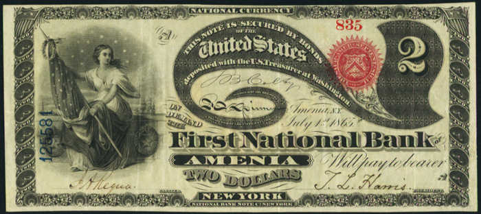 Two Dollar Original Series National Bank Note Value