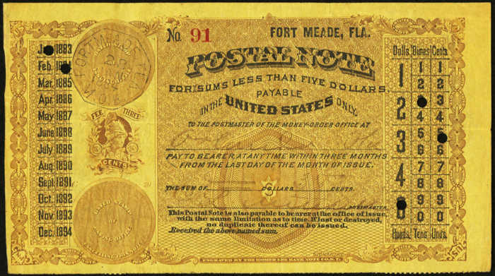 Picture of old gold postal note from fort meade and dated 1884