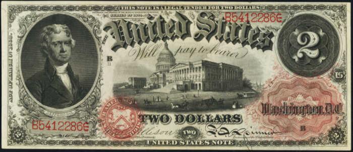 1874 $2 Legal Tender Value