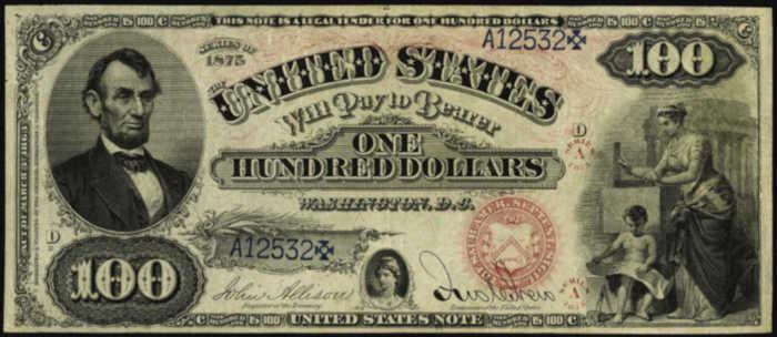 1875 $100 Legal Tender Value