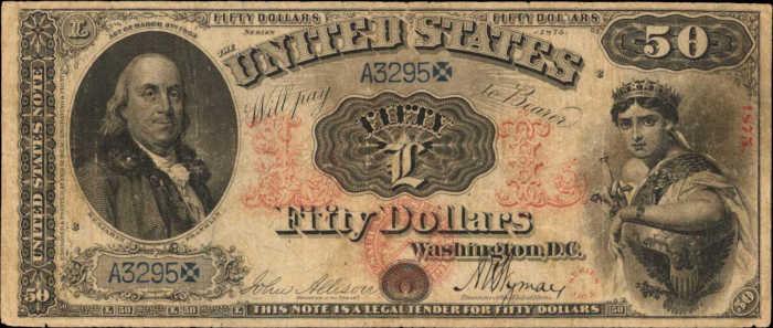 1875 $50 Legal Tender Value