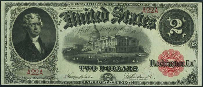 1917 $2 Legal Tender Value