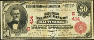 Picture of Fifty Dollar 1902 Red Seal National Bank Note Value