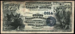 Picture of Fifty Dollar 1882 Blue Seal Territorial National Bank Note