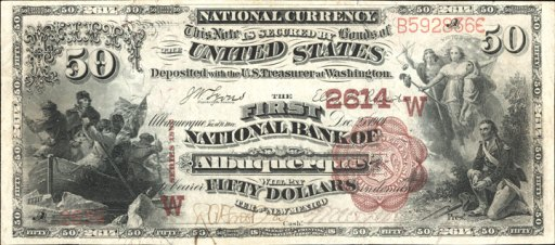 Picture of Fifty Dollar 1882 Brown Back Territorial National Bank Note