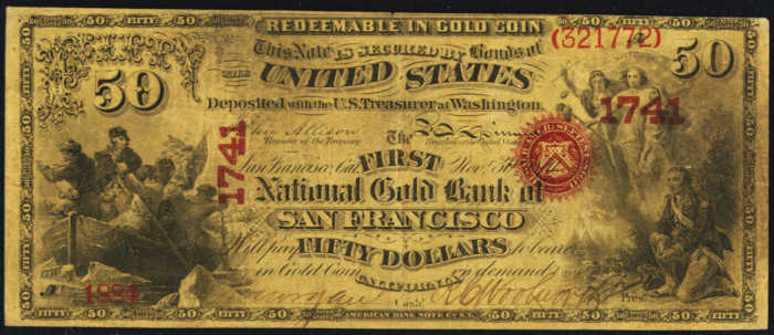 Picture of Fifty Dollar Gold National Bank Note
