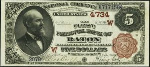 Picture of Five Dollar 1882 Brown Back Territorial National Bank Note