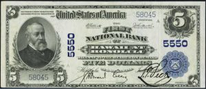 Picture of Five Dollar 1902 Blue Seal Territorial National Bank Note
