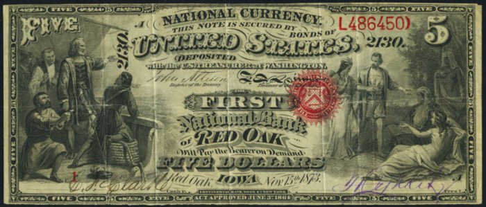 Picture of Five Dollar Black Charter Number National Bank Note