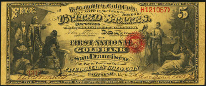 Picture of Five Dollar Gold National Bank Note