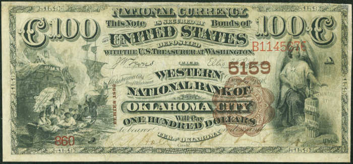 Picture of One Hundred Dollar 1882 Brown Back Territorial National Bank Note