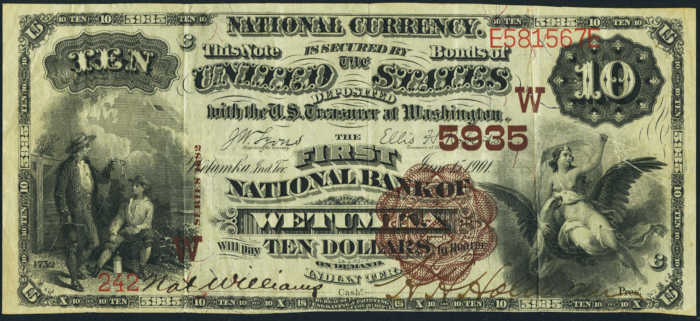 Price of Ten Dollar 1882 Brown Back Territorial National Bank Note